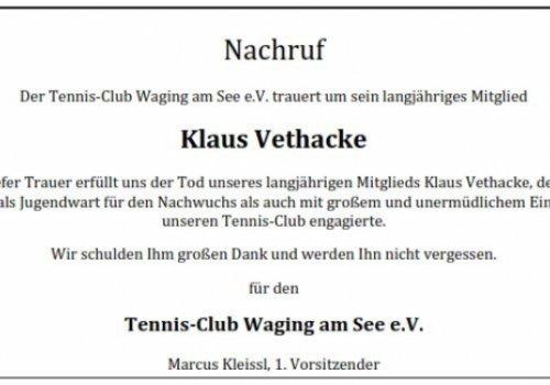 Nachruf für Klaus Vethacke