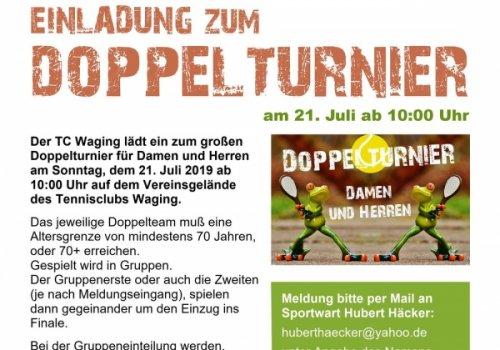 Einladung zum Doppelturnier am So., 21. Juli