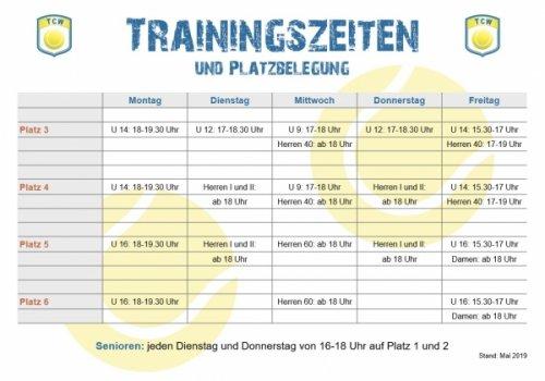 Trainingszeiten und Platzbelegung