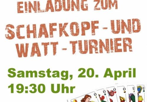 Einladung zum Schafkopf- und Watt-Turnier am 20. April