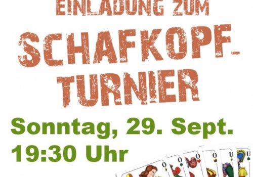 Einladung zum Schafkopfturnier am 29. Sept.